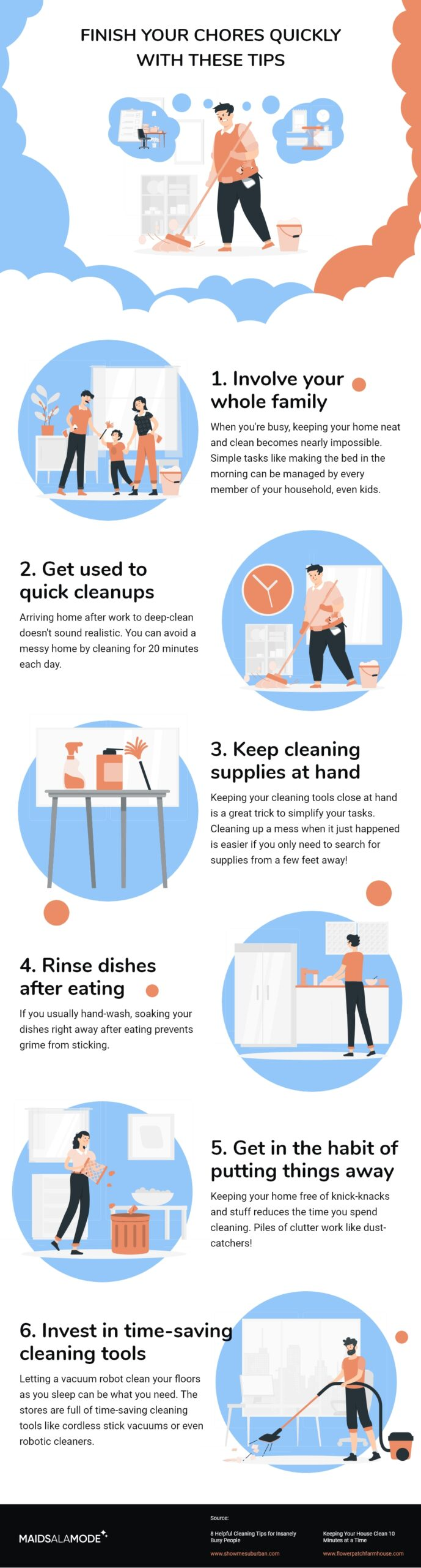 Tips to finish chores quickly infographics